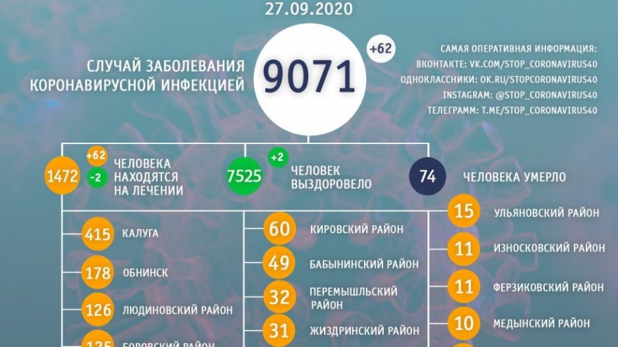 За сутки коронавирусом в Обнинске заболели 13 человек