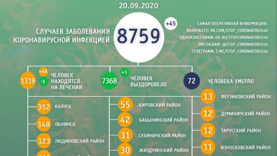 Плюс 5 заболевших ковидом: данные за сутки в Обнинске и регионе